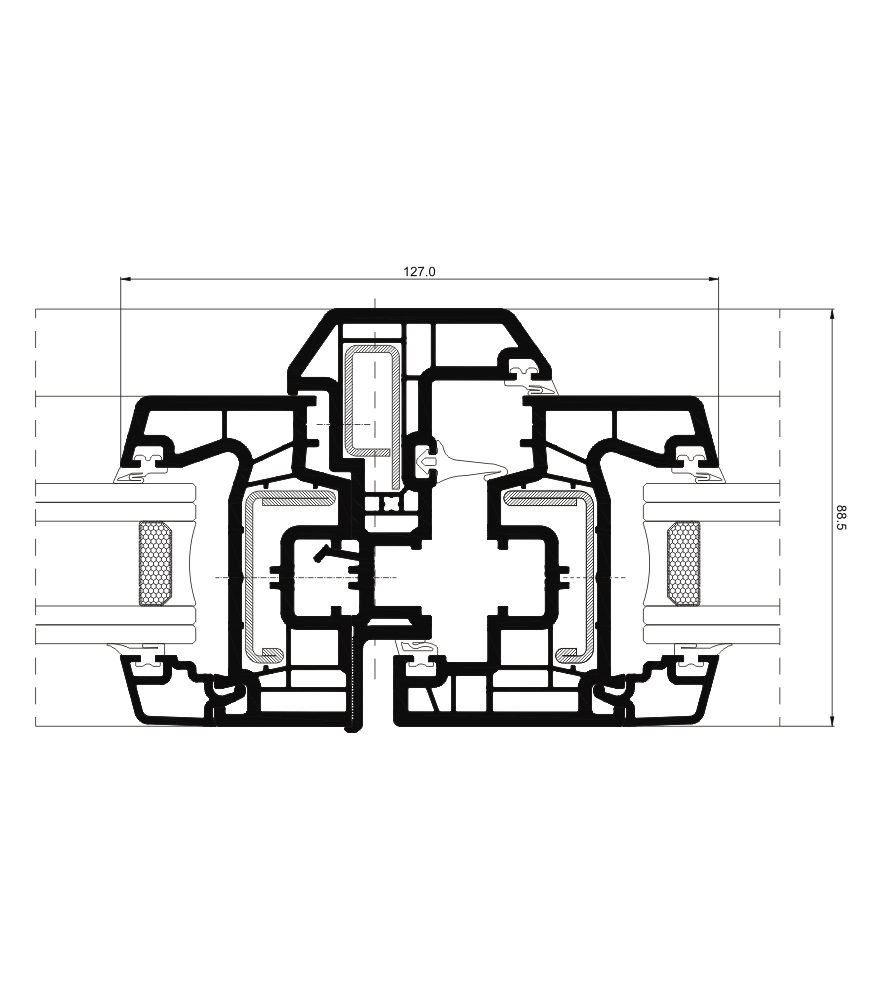 Sección del sistema A 70 Triple junta - PVC